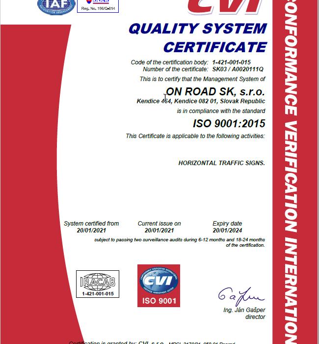 Certifikáty systému manažérstva kvality ISO 9001 v EN
